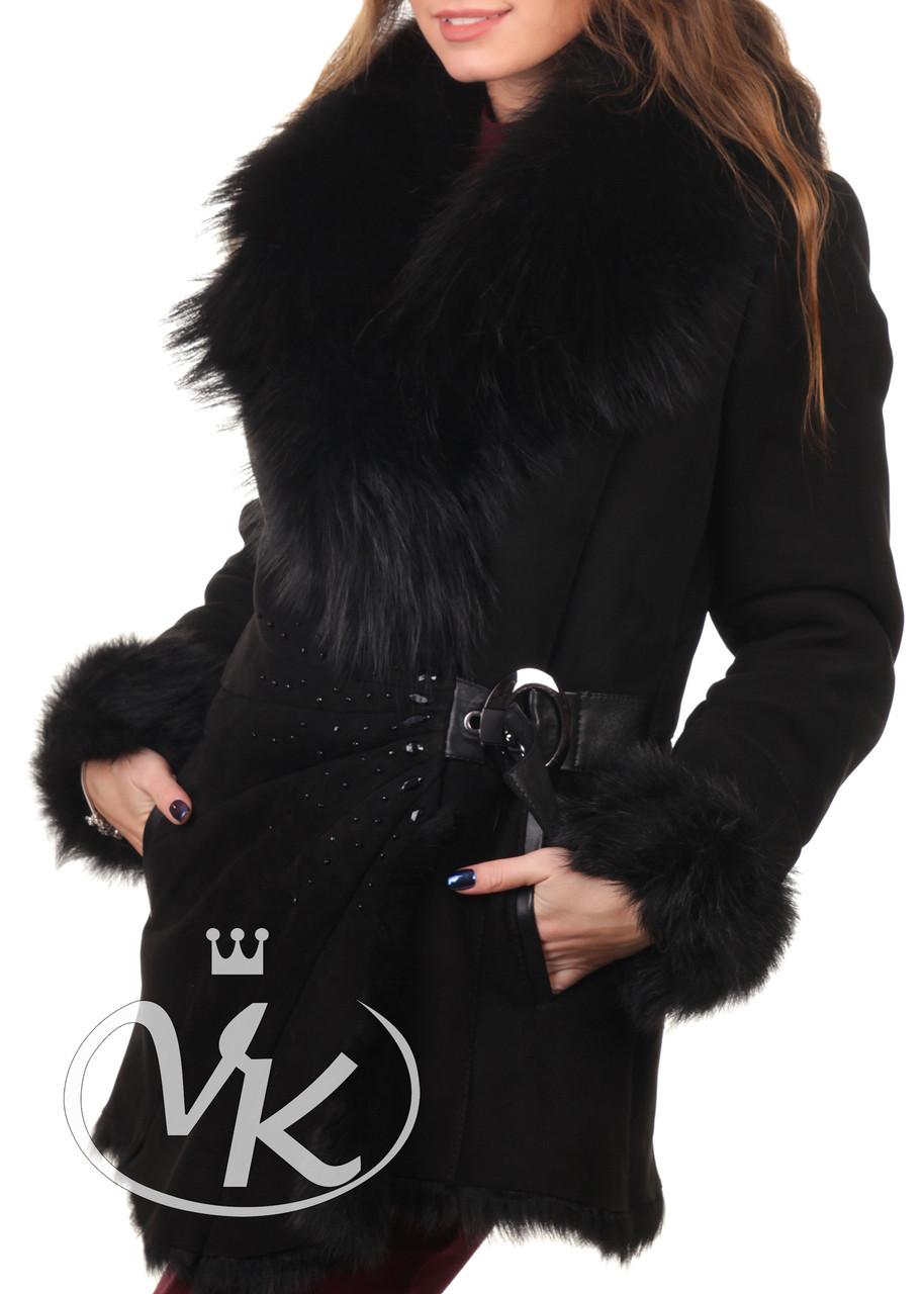 Дубленка черная женская из овчины удлиненная с мехом 44 размера (Арт. IND102)