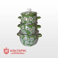 Набор посуды НМ №6, 3 предмета - Ромашковое поле зеленое
