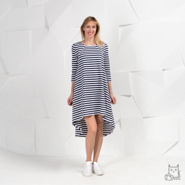 76e3c6c4222a7d7 Платье в полоску свободного силуэта с асимметричным подолом для беременных  и кормящих мам HIGH HEELS MOM