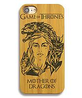 Деревянный чехол на Iphone 6/6s  с лазерной гравировкой Mother Of Dragons