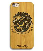 Деревянный чехол на Iphone 6/6s  с лазерной гравировкой Skull