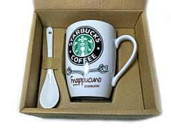 Чашка керамическая кружка Starbucks набор с ложкой R82530 Black