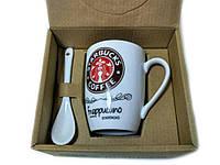 Чашка керамическая кружка Starbucks набор с ложкой R82530 Brown, фото 1