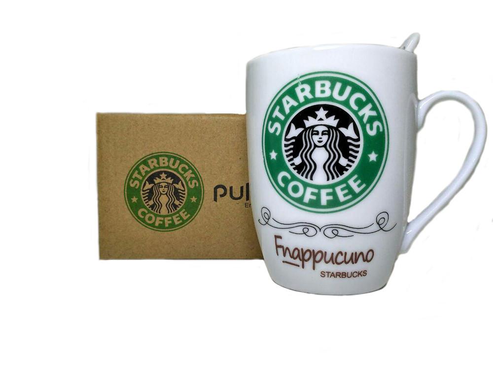 Чашка керамическая кружка Starbucks набор с ложкой R82530 Green