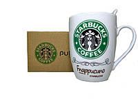 Чашка керамическая кружка Starbucks набор с ложкой R82530 Green, фото 1