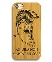 Деревянный чехол на Iphone 6/6s  с лазерной гравировкой Helmet Sparta