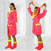 Домашний комплект: махровый халат с ушками и сапожки. Цвет розовый. АРТ-1030.2