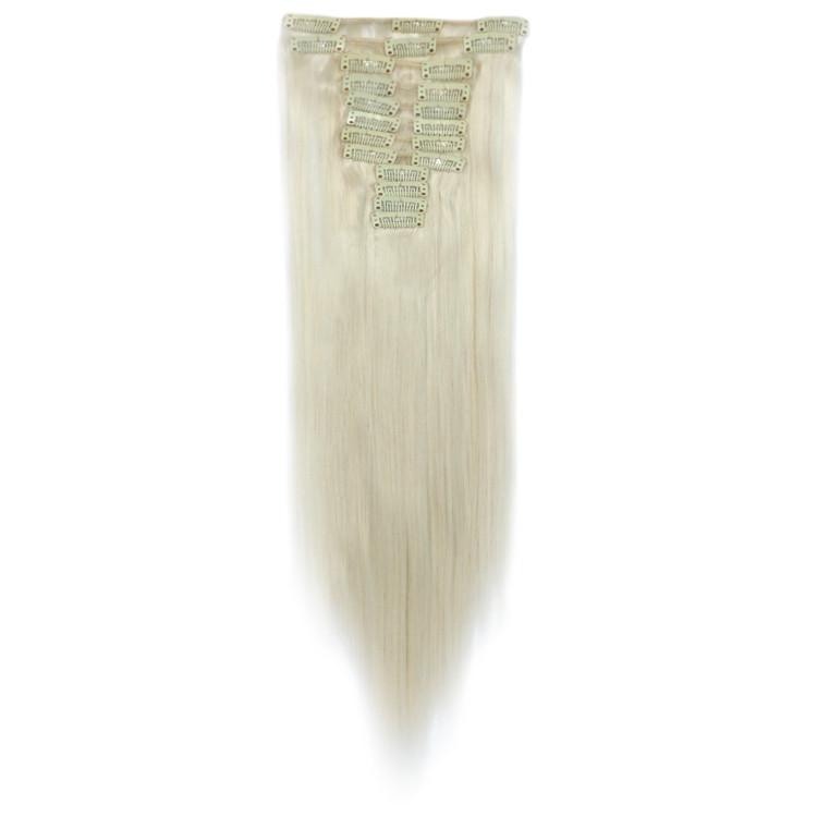 Искусственные волосы на заколках. Цвет #60 Холодный блонд. Набор прядей, фото 1