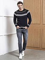 Мужской свитер LC Waikiki/ЛС Вайкики серого цвета в геометрический рисунок
