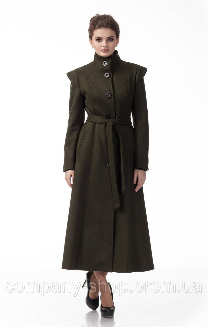 Длинное пальто оливкового цвета. Модель ПЛ004_оливка.