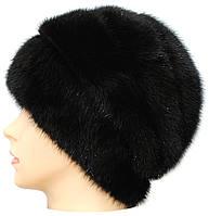 Женская шапка на трикотаже,Лаура (черная)