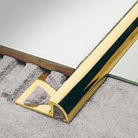 Латунный уголок для плитки наезжающий Pawotex 10 мм 2.5 м MOPN10