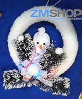 Новогодняя подвеска с подсветкой Снеговик круг