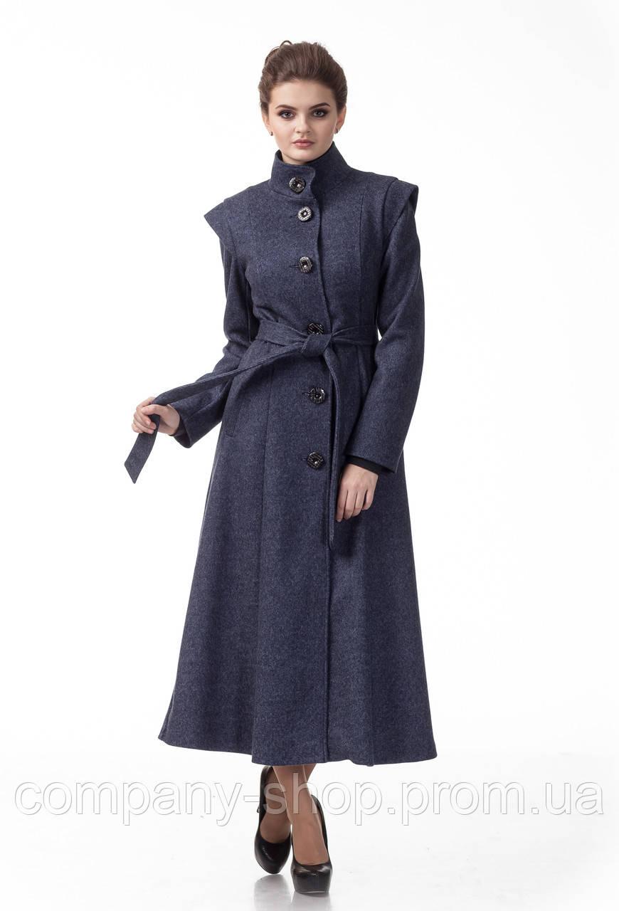 Длинное пальто синего джинсового цвета. Модель ПЛ004_джинс.