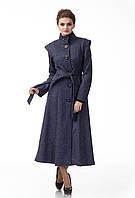Длинное пальто синего джинсового цвета. Модель ПЛ004_джинс., фото 1