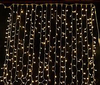 Світлодіодна гірлянда-дощ HOLIDAY CURTAIN 456LED 2*1,5 m тепло-біла (бел./черн. кабель), фото 1