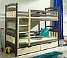 Двухъярусная кровать трансформер деревянная Бемби из натурального Бука
