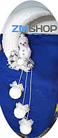 Новогодняя подвеска большая Снеговик на Месяце