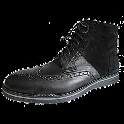 Черные кожаные и замшевые мужские зимние ботинки-дезерты PAOLO GIANNI на меху (шерсть) 39-45