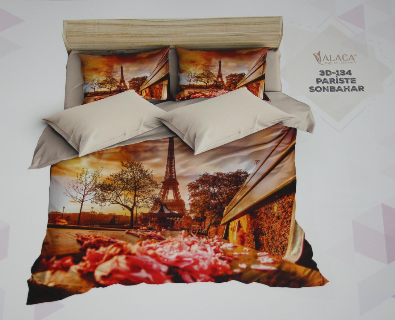 Белье постельное Евро размера ALACA 3D Pariste Sonbahar