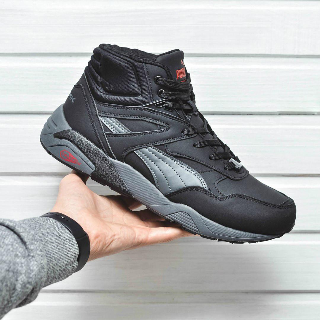 Ботинки Puma trinomic мужские зима (черные), ТОП-реплика