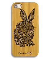 Деревянный чехол на Iphone 6/6s  с лазерной гравировкой Rabbit
