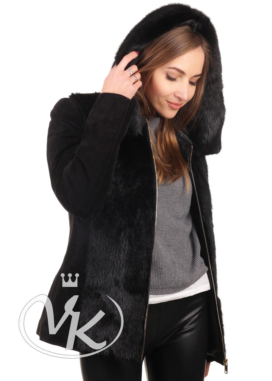 Женская кожаная куртка с мехом замшевая зимняя 46 размера (Арт. D202-4)