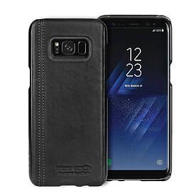 Чохол накладка для Samsung Galaxy S8 Plus G955 пластиковий з натуральною шкірою, PIERRE CARDIN, чорний