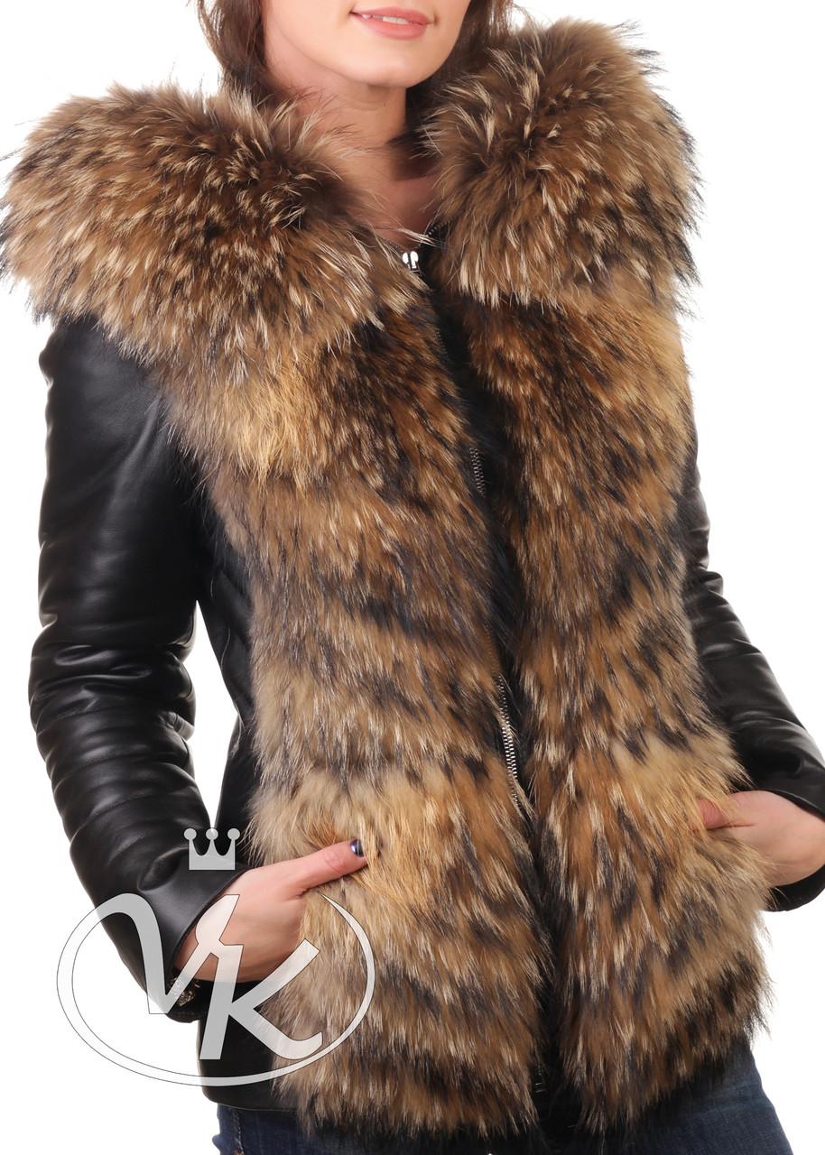 Кожаная куртка с мехом енота короткая зимняя (Арт. D202-2)