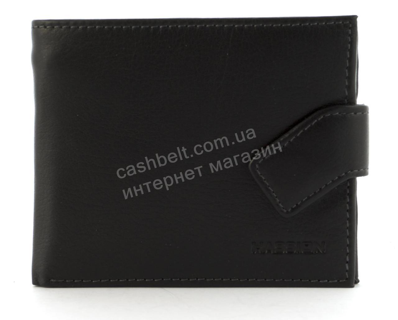 Мужской стильный классический кошелек c прочной кожи HASSION art. H-063B черный