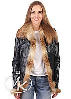 Синяя кожаная куртка с мехом, фото 1