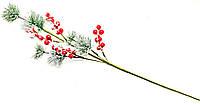 Ветка декоративная с ягодками новогодняя 65 см