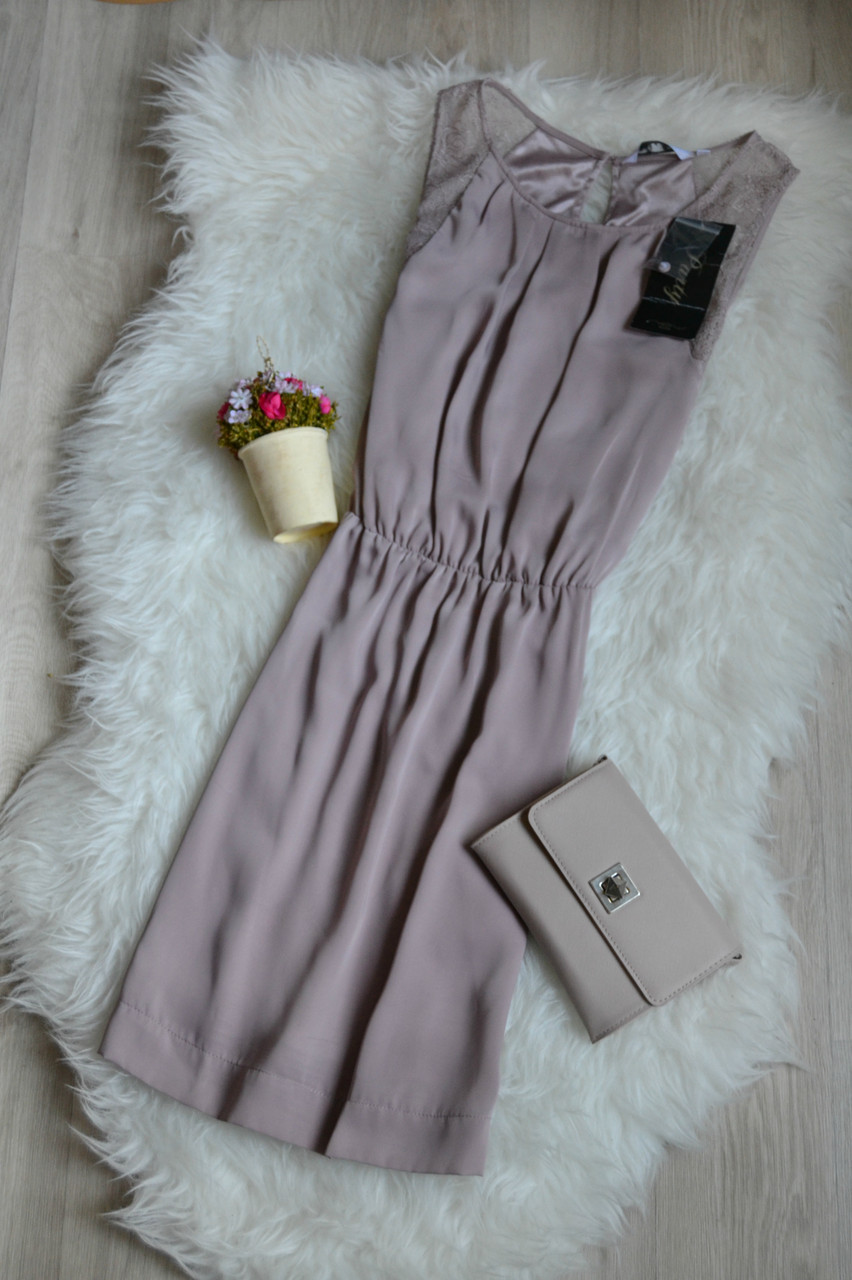 Новое сатиновое платье с кружевом пудрового цвета New Look