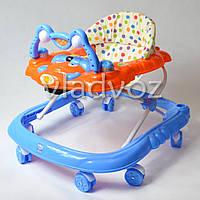 Детские ходунки музыкальная панель тормоз синие Baby Angel