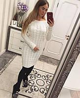 Женское вязаное платье по колено с узором