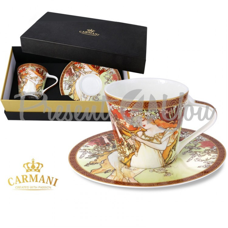 Чашка с блюдцем А. Муха «Четыре времени года. Весна» Carmani, 250 мл (539-5001)
