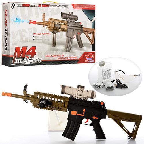 Автомат детский 74см, аккум, водяные пули,2 режима стрельбы,USB зарядное очки в коробке