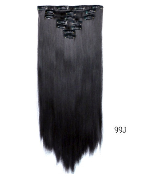 Накладні рівні волосся 7 пасм на кліпсах,тресс довжина 55 див.