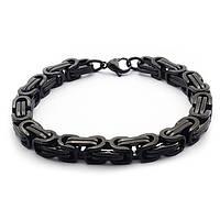 Мужской стальной браслет с черным покрытием