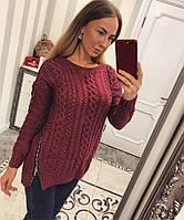 Женский модный вязаный свитер с молниями