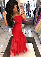 Платье вечернее.длинное , Ткань - креп дайвинг ,цвет красный ,внизу фатин фото реал дпог №124-14