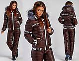 Женский лыжный костюм, размер 42, 44, 46, 48, 50, 52, 54. Плащевка на синтепоне + искусственная овчина., фото 5