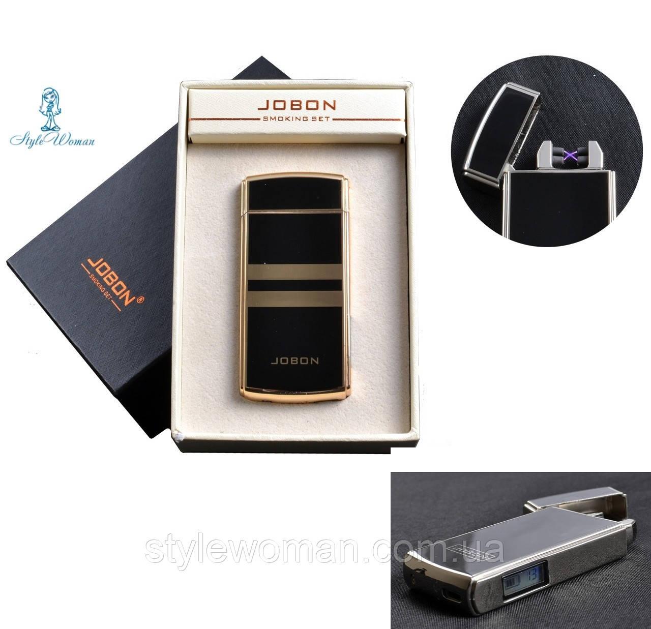 Электро-импульсная USB зажигалка с двумя перекрестными молниями и счетчиком использования №4780 Jobon
