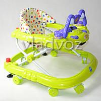 Детские ходунки музыкальная панель тормоз салатовые Baby Angel
