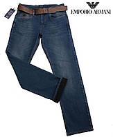 Стильные мужские джинсы Armani ,утепленные.С ремнем.