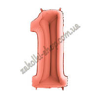 """Фольгированный воздушный шар GRABO Италия цифра один """"1"""", цвет: розовое золото, размер: 40 дюймов/102 см, инди"""