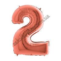 """Фольгированный воздушный шар GRABO Италия цифра два """"2"""", цвет: розовое золото, размер: 40 дюймов/102 см, индив"""