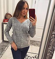 Женский модный вязаный свитер с узором коса