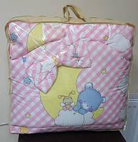 Постельный комплект в детскую кроватку 8-ми предметный, №79,1 мишки на месяце (розовая клетка) new