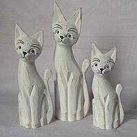 Набор статуэток белых котов (35, 30 и 25 см)